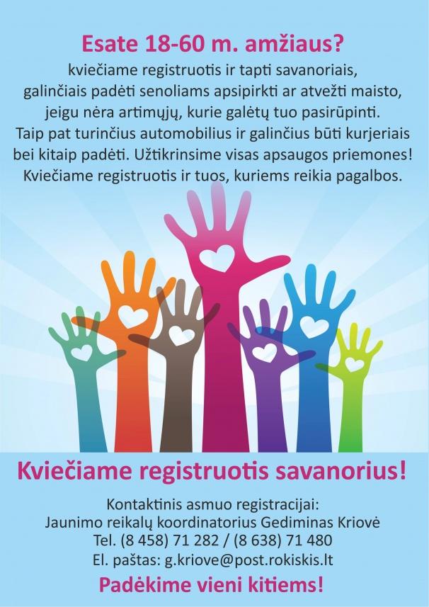 Kviečiame registruotis savanorius!