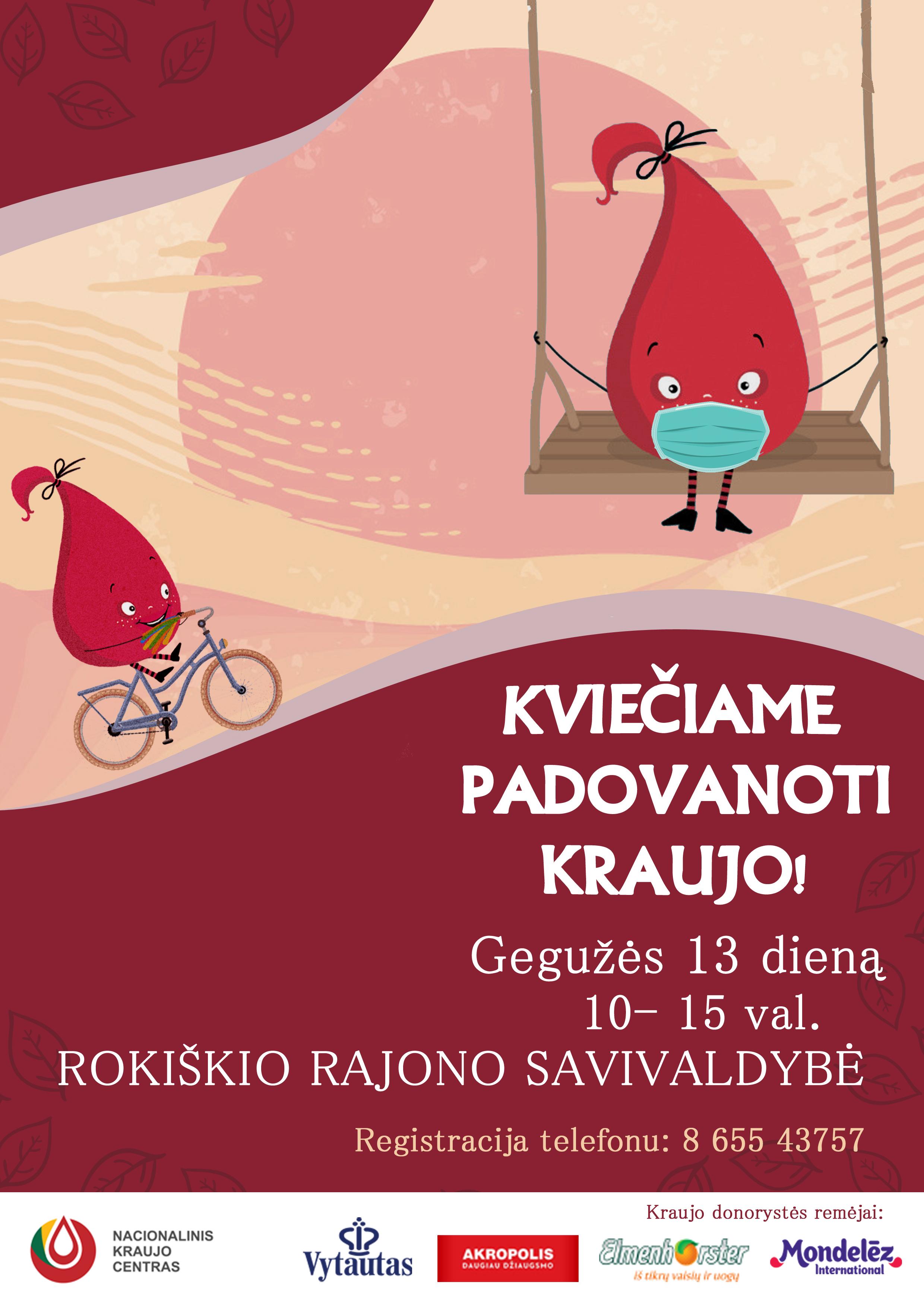 Gegužės 13 dieną – kraujo donorystės akcija Rokiškyje