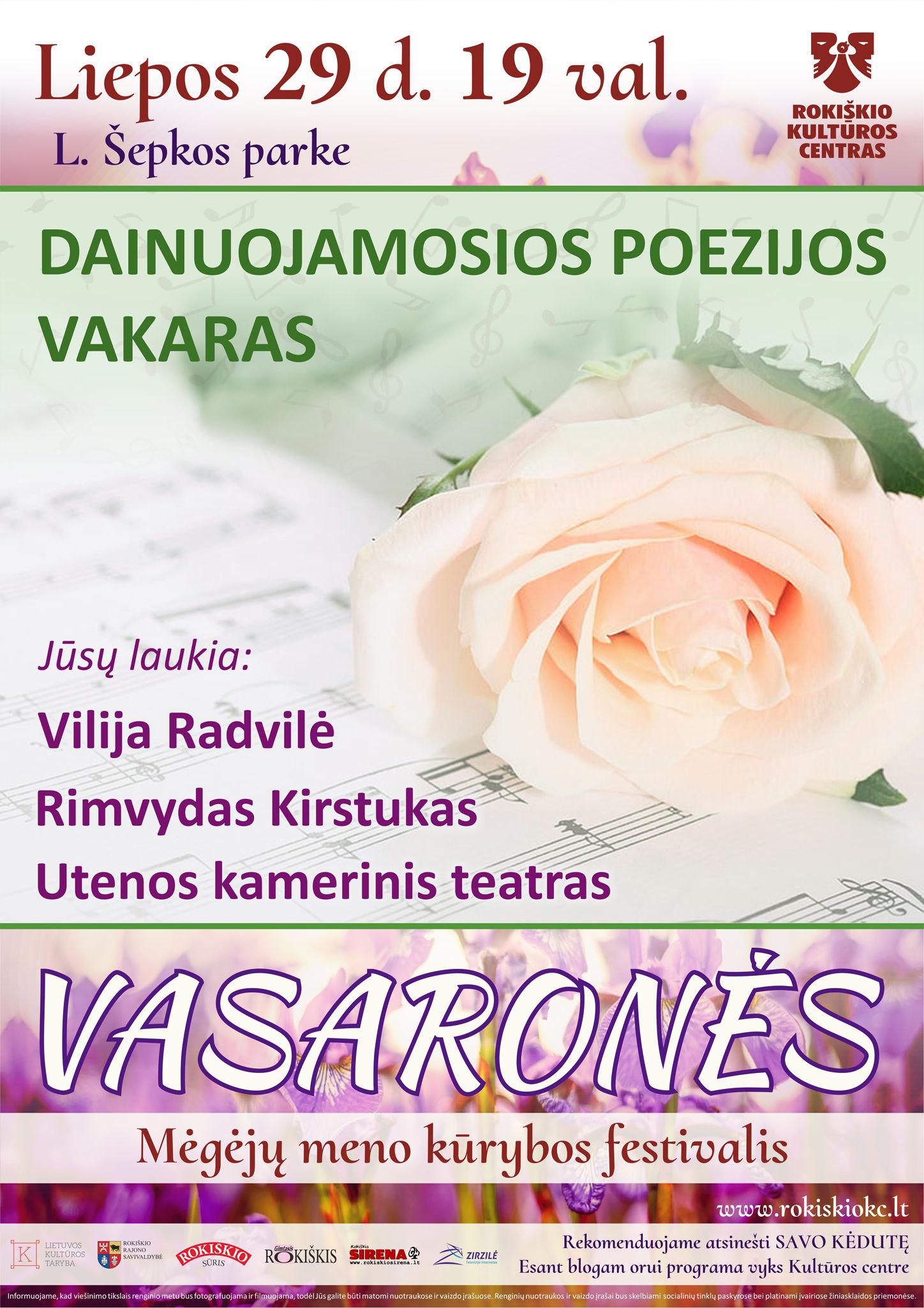 VASARONĖS, DAINUOJAMOSIOS POEZIJOS VAKARAS