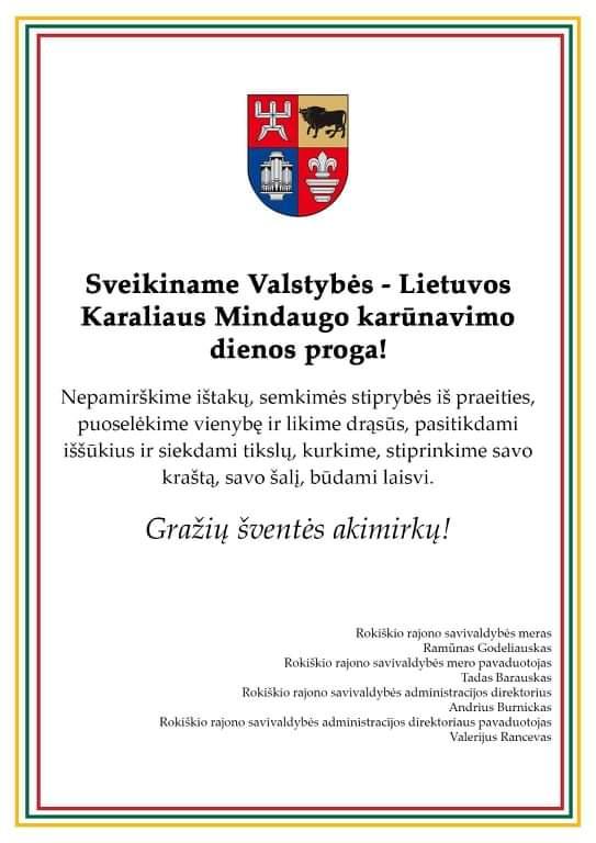 Sveikiname Valstybės – Lietuvos Karaliaus Mindaugo karūnavimo dienos proga!