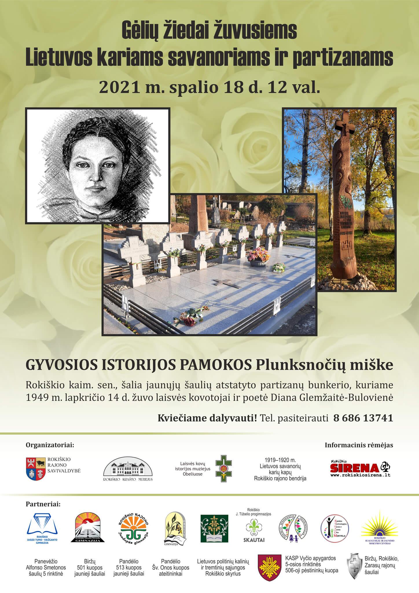 Gėlių žiedai žuvusiems Lietuvos kariams savanoriams ir partizanams